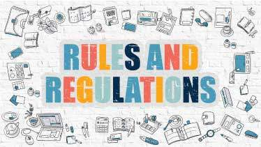 Cartoon style graphic Rules and Regulation