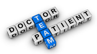 scrabble blocks, doctor, team, patient