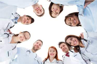 Health care professionals huddle