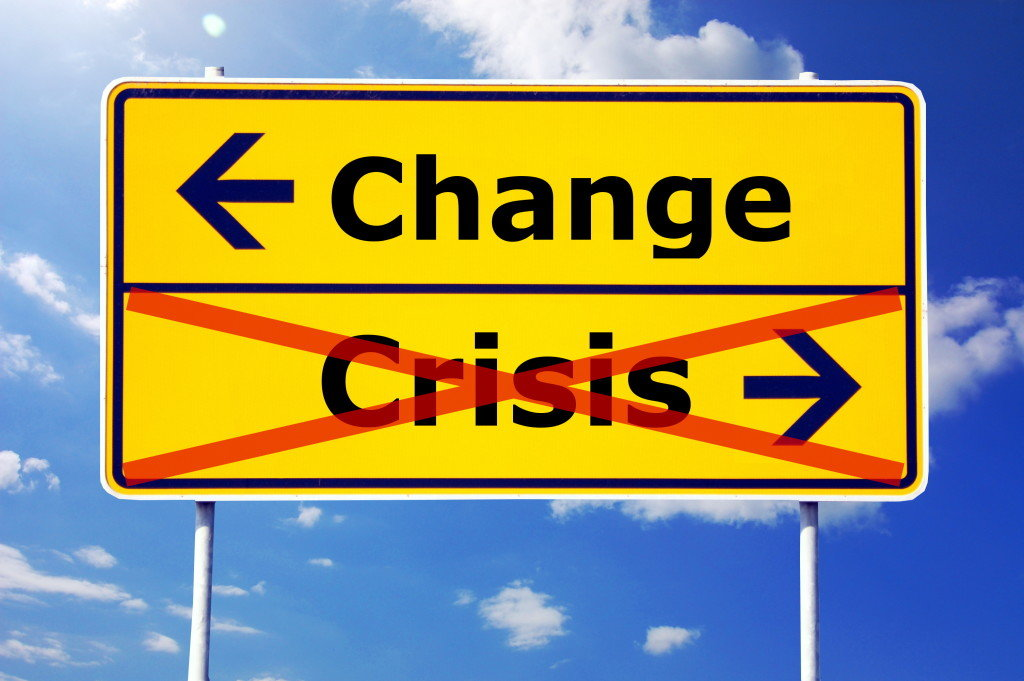 Change vs Crisis road sign